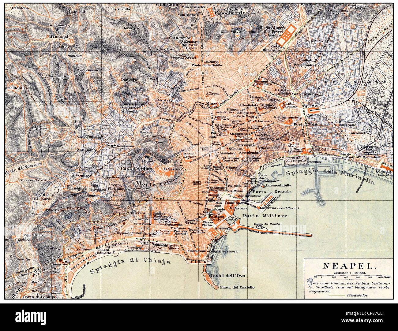 Historische Karte von Neapel und Umgebung, Italien, 19. Jahrhundert, Historische, Zeichnerische Darstellung, Landkarte, Stockbild