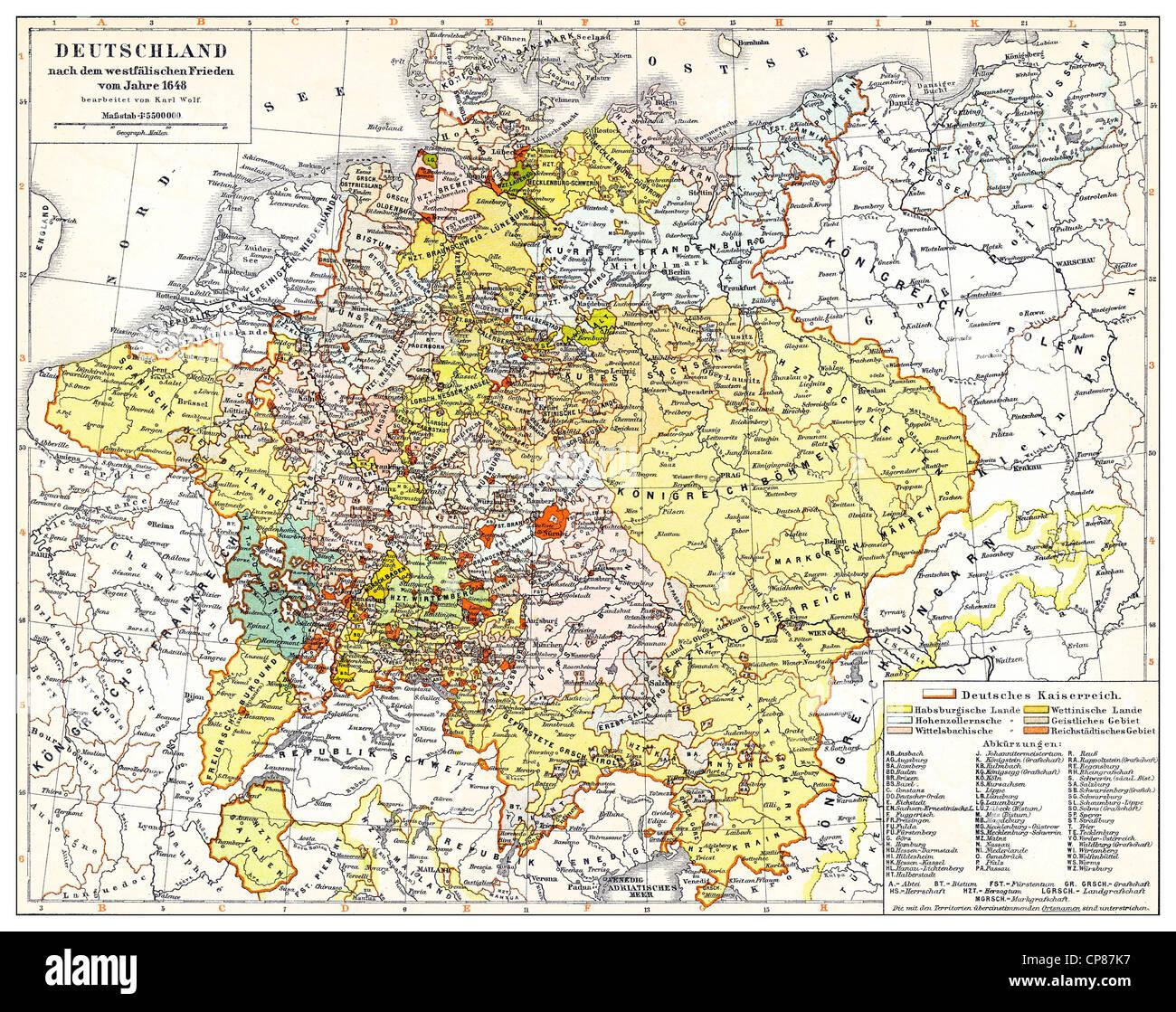 Historische Karte Von Deutschland Und Europa Nach Dem