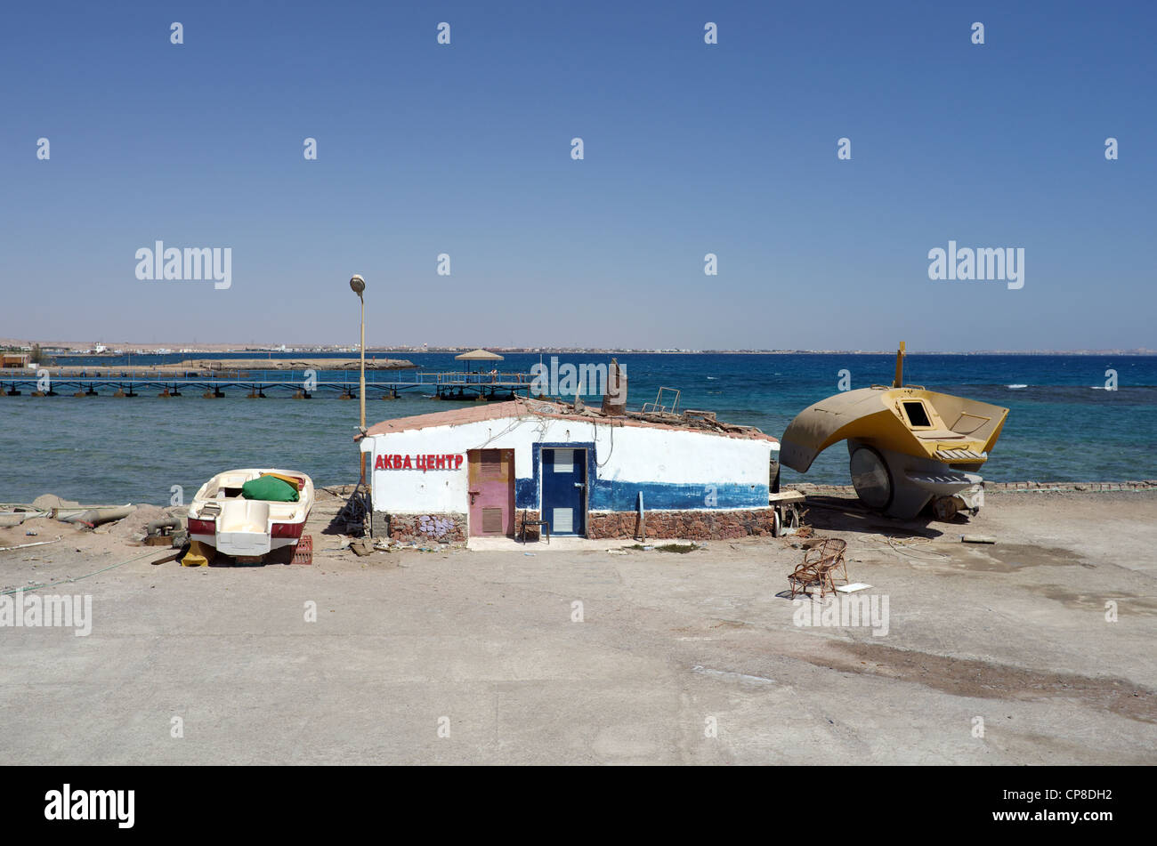 Pier mit Bauwerk. Rotes Meer, Hurghada, Ägypten Stockbild