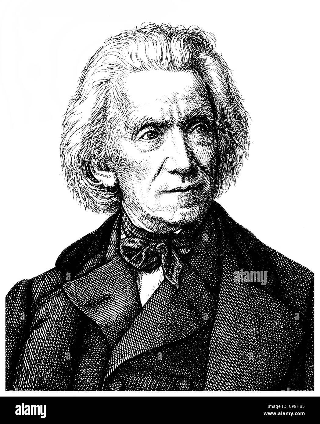 Adrian, 1803-1884, deutscher Maler und Zeichner der Romantik und Biedermeier Perioden, Historische Zeichnun Stockbild