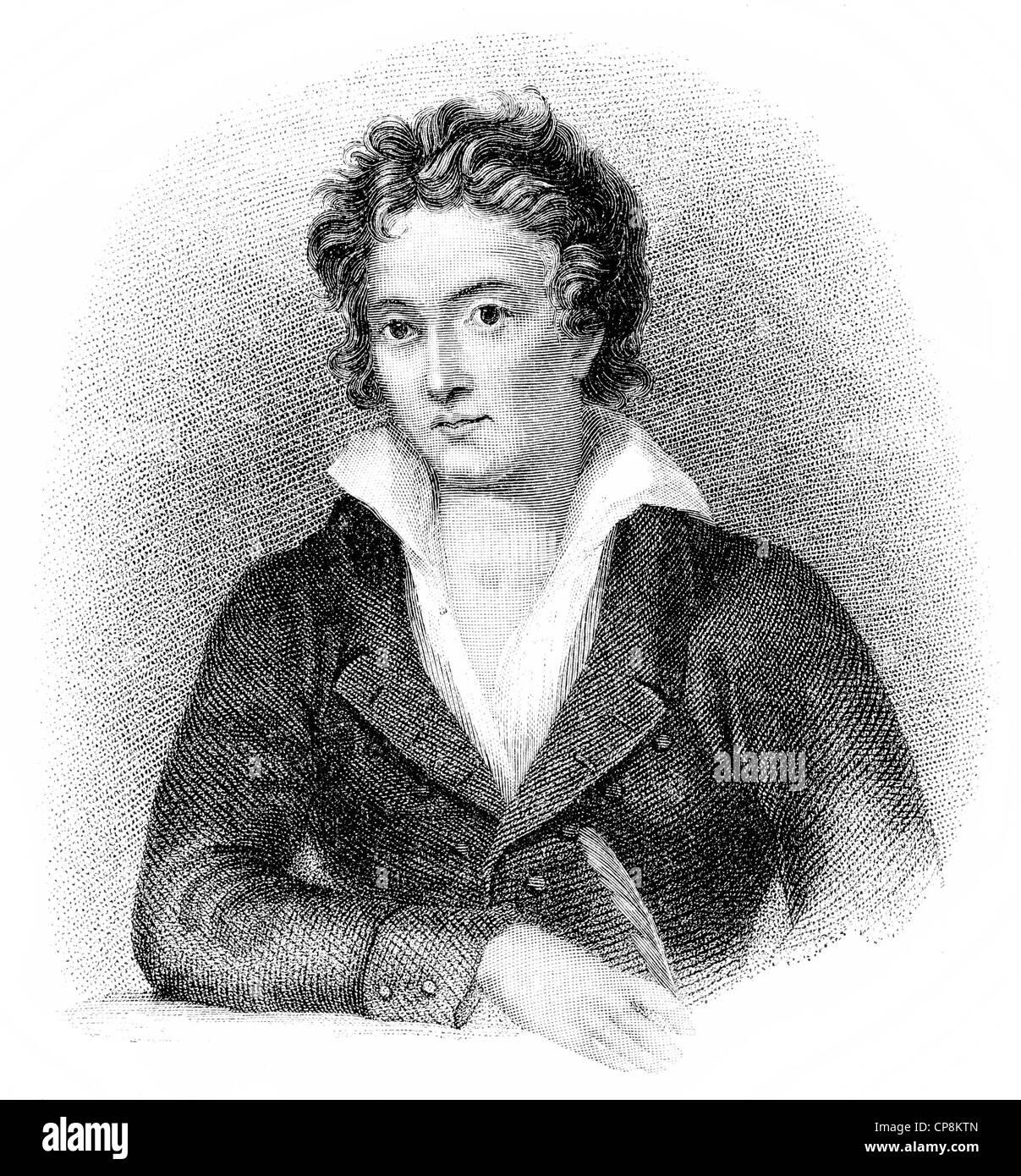 Percy Bysshe Shelley, 1792-1822, ein britischer Schriftsteller der Romantik Stockbild