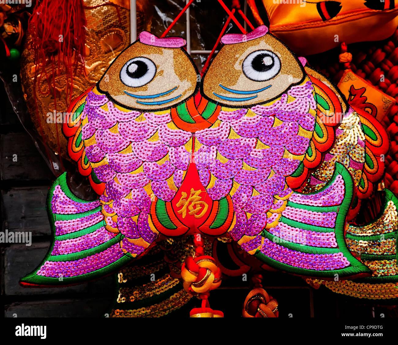 Zwei glückliche Tuch Fisch China Stockbild