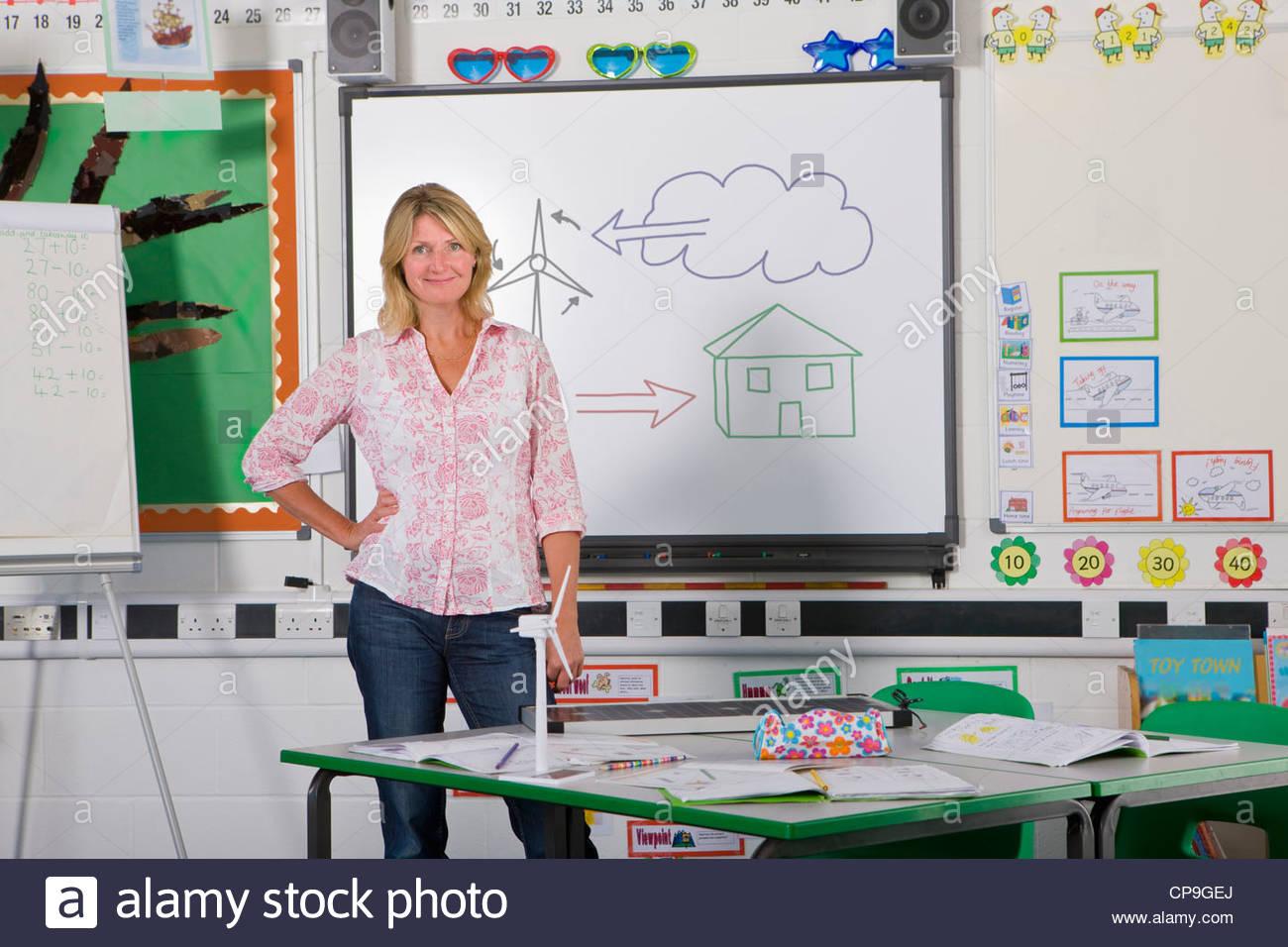 Lehrer stehen in der Nähe von Board mit Wind-Kraft-Diagramm im Klassenzimmer Stockbild