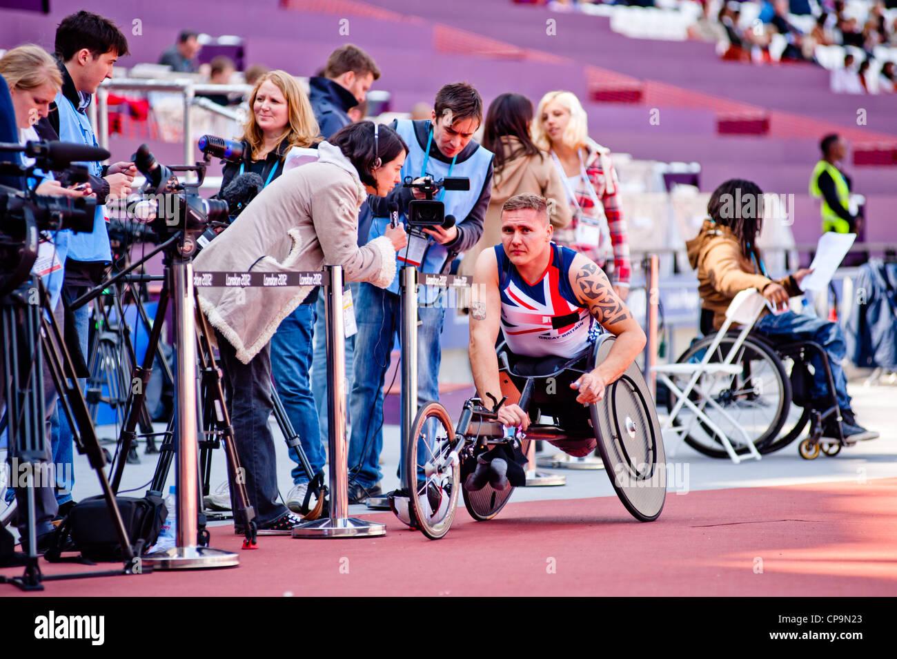 Athlet bei Visa London Disability Athletics Herausforderung im Olympiastadion am 8. Mai 2012 in London. Stockbild