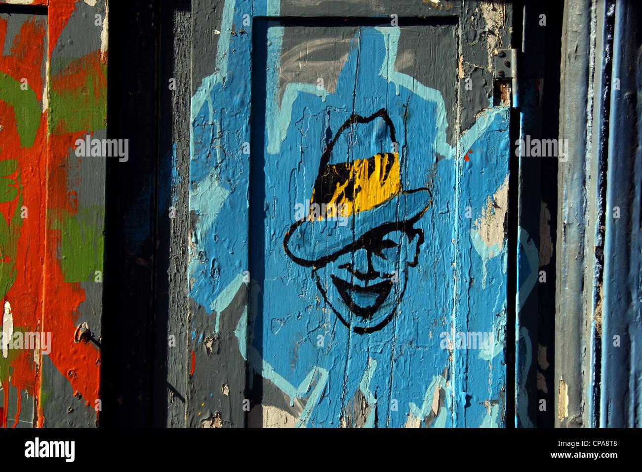 Streetart von Carlos Gardel, Sänger, Songwriter und Schauspieler, vielleicht die prominenteste Figur in der Stockbild