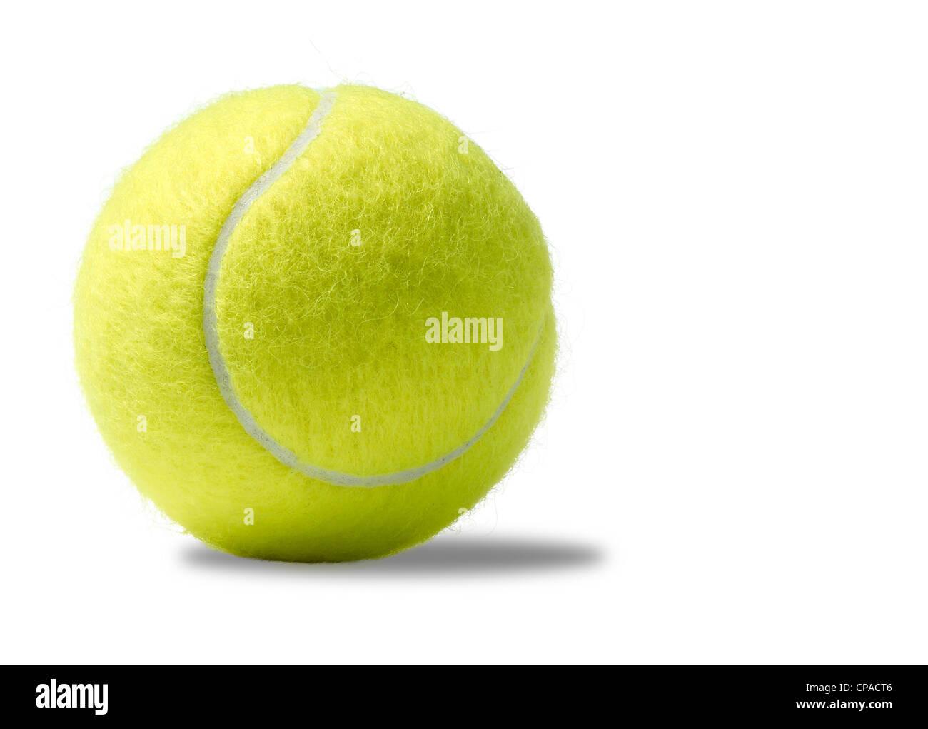 einen gelben Tennisball auf weißem Hintergrund Stockbild