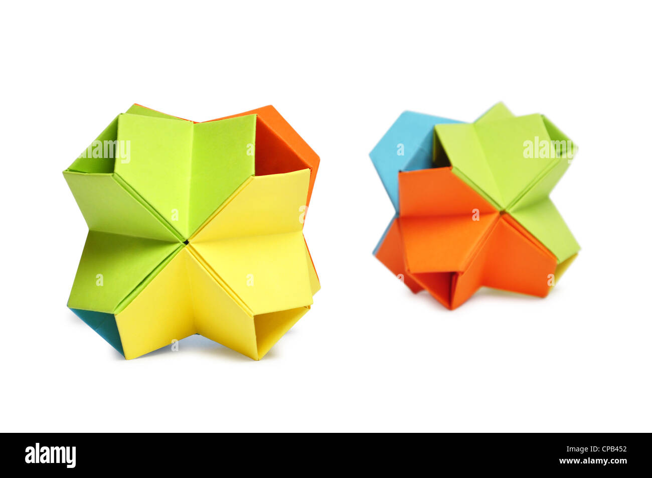 Bunte Origami Kusudama isoliert auf weißem Hintergrund Stockbild