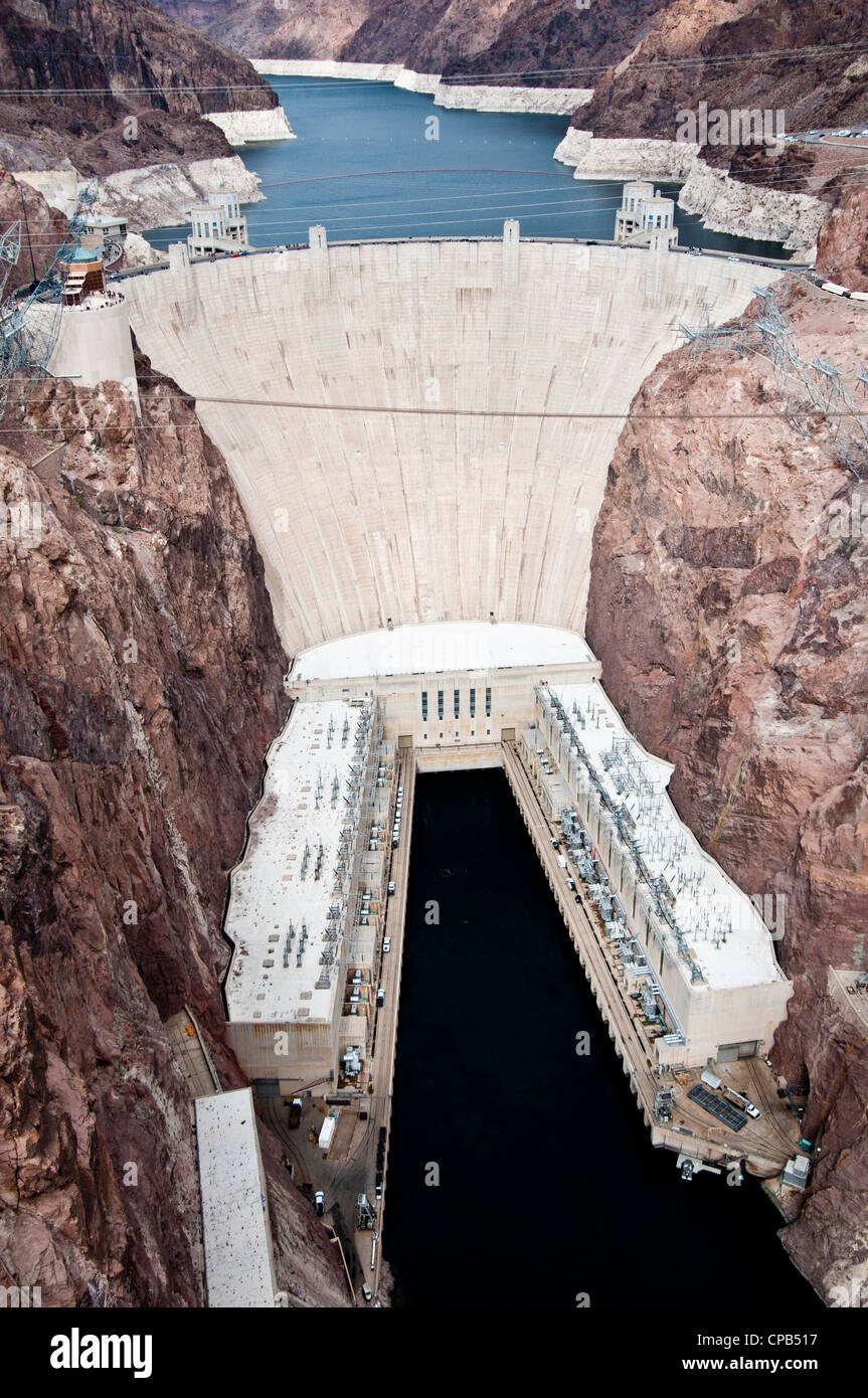 Hoover-Staudamm am Fluss Colorado, Nevada und Arizona Stockfoto
