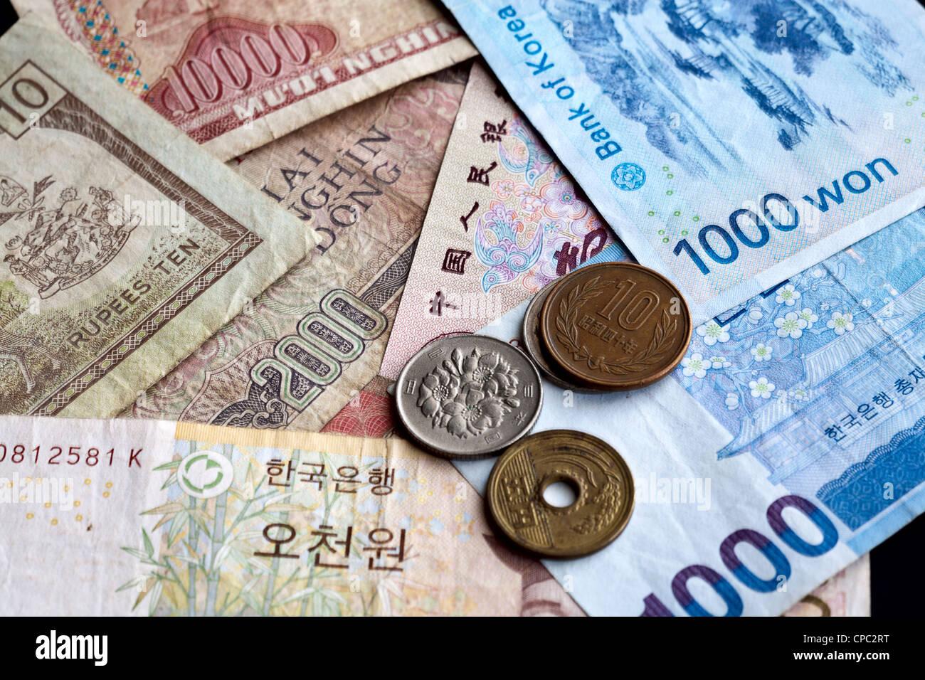 Eine Nahaufnahme Von Den Asiatischen Währungen Vietnamesischer Dong