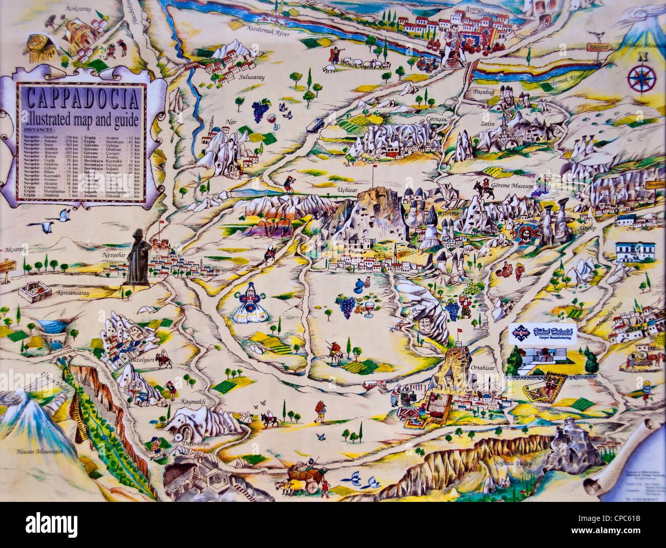 Karte Türkei Kappadokien.Illustrierte Karte Von Kappadokien Türkei Stockfoto Bild