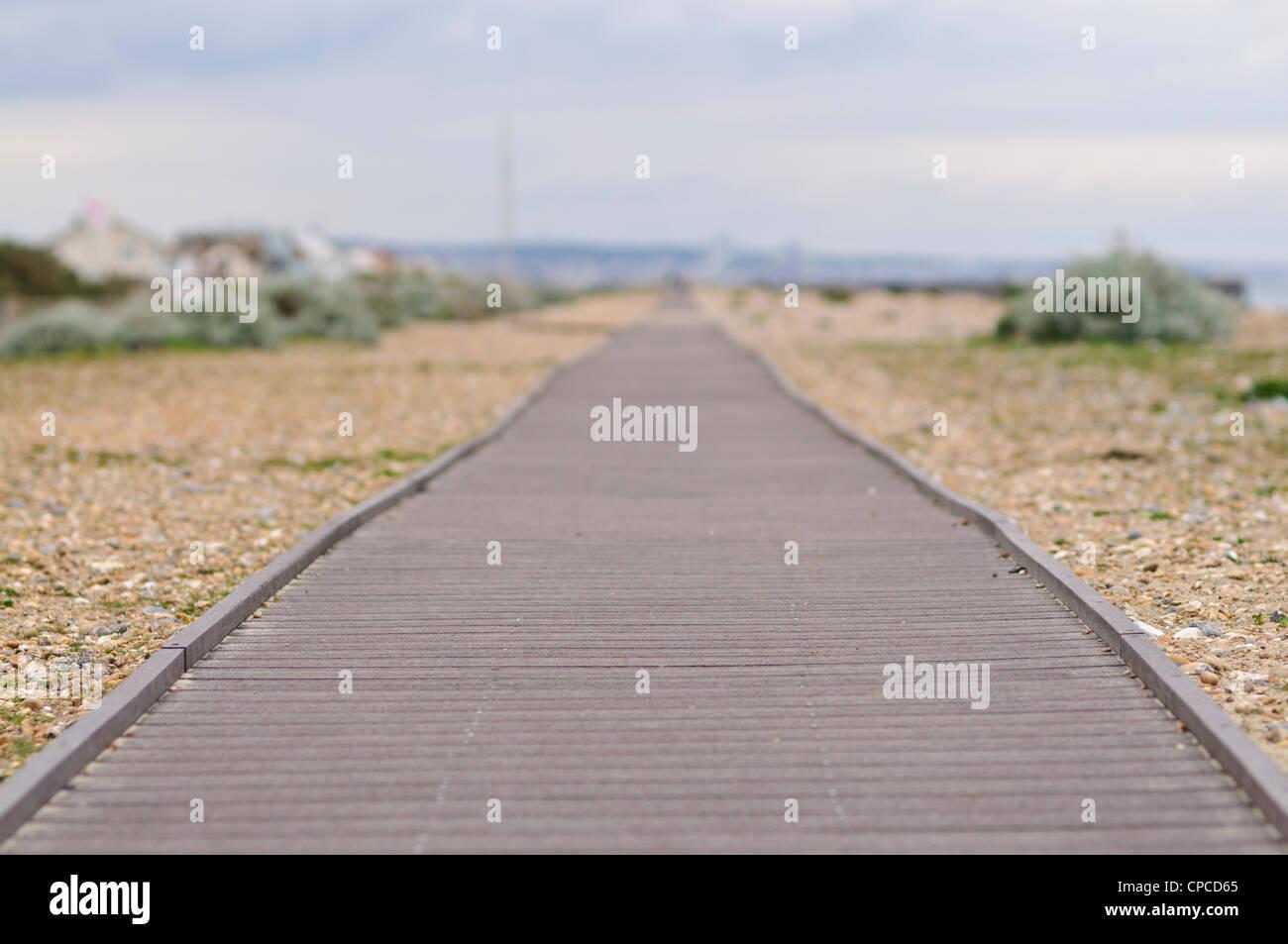 Der Boardwalk am Shoreham, Sussex, UK Stockbild