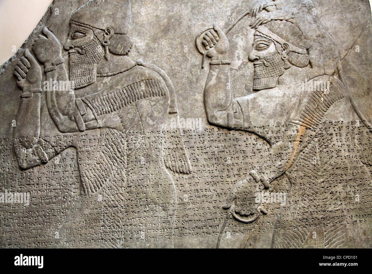 Tablet-Darstellung assyrischen Tribut Träger, British Museum, London, England, Vereinigtes Königreich, Stockbild