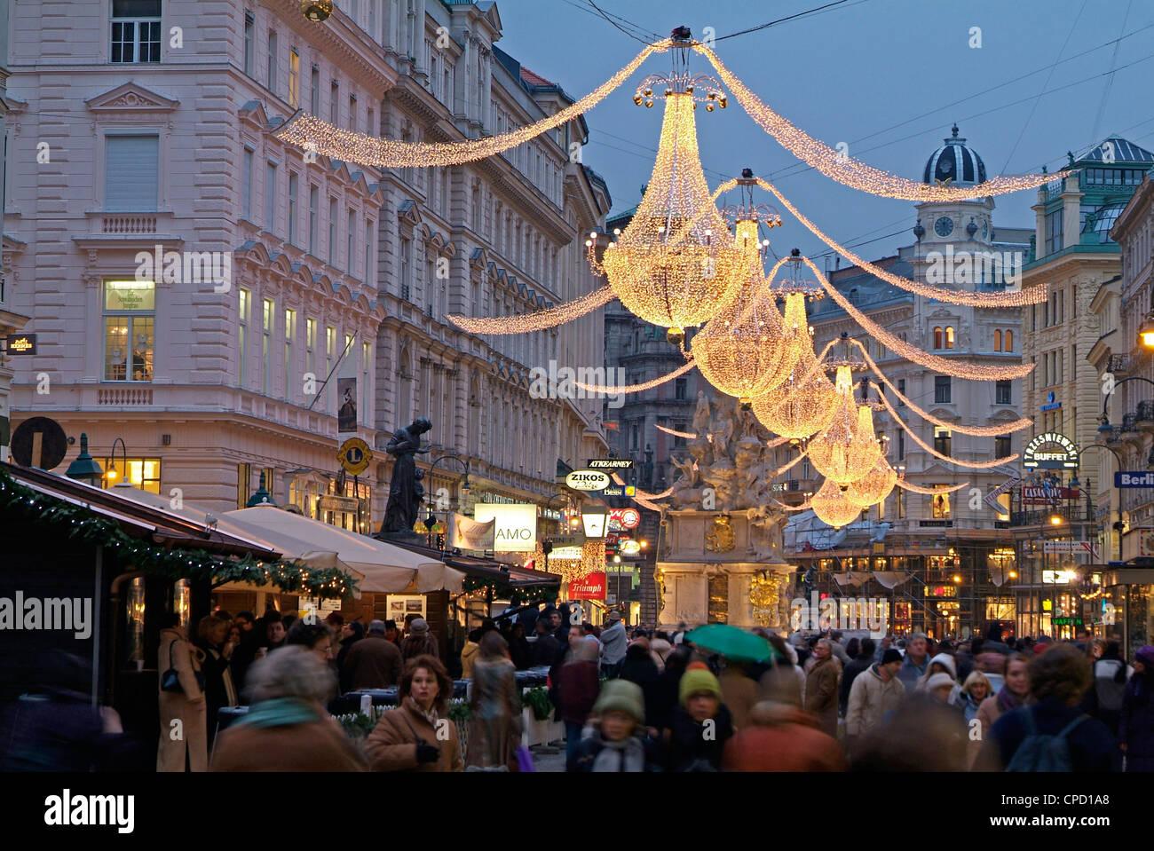Weihnachts-Dekoration am Graben, Wien, Österreich, Europa Stockbild