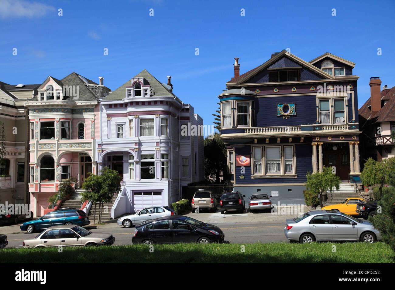 Viktorianische Architektur, Painted Ladies, Alamo Square, San Francisco, California, Vereinigte Staaten von Amerika, Stockbild