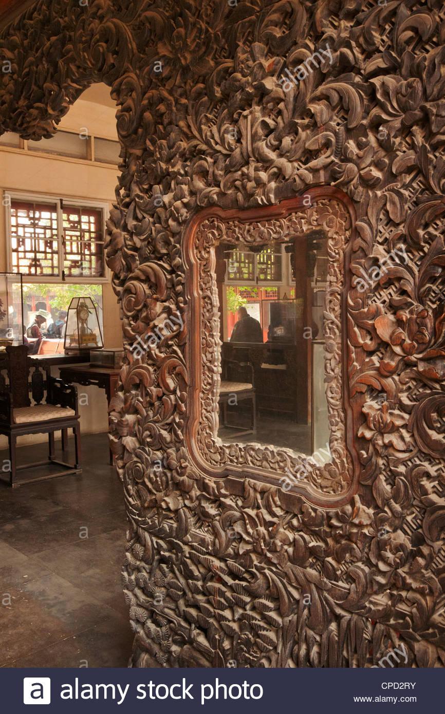 Hölzerne Detail Interieur, Ming und Qing Dynastien, wo Konkubinen, Verbotene Stadt, Peking, China, Asien lebte Stockbild