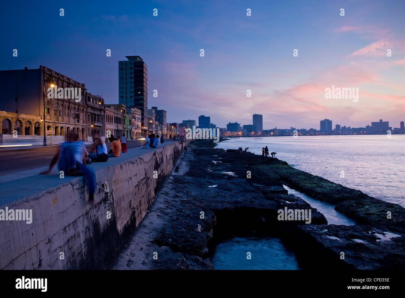 Der Malecon, Havanna, Kuba, Karibik, Mittelamerika Stockbild