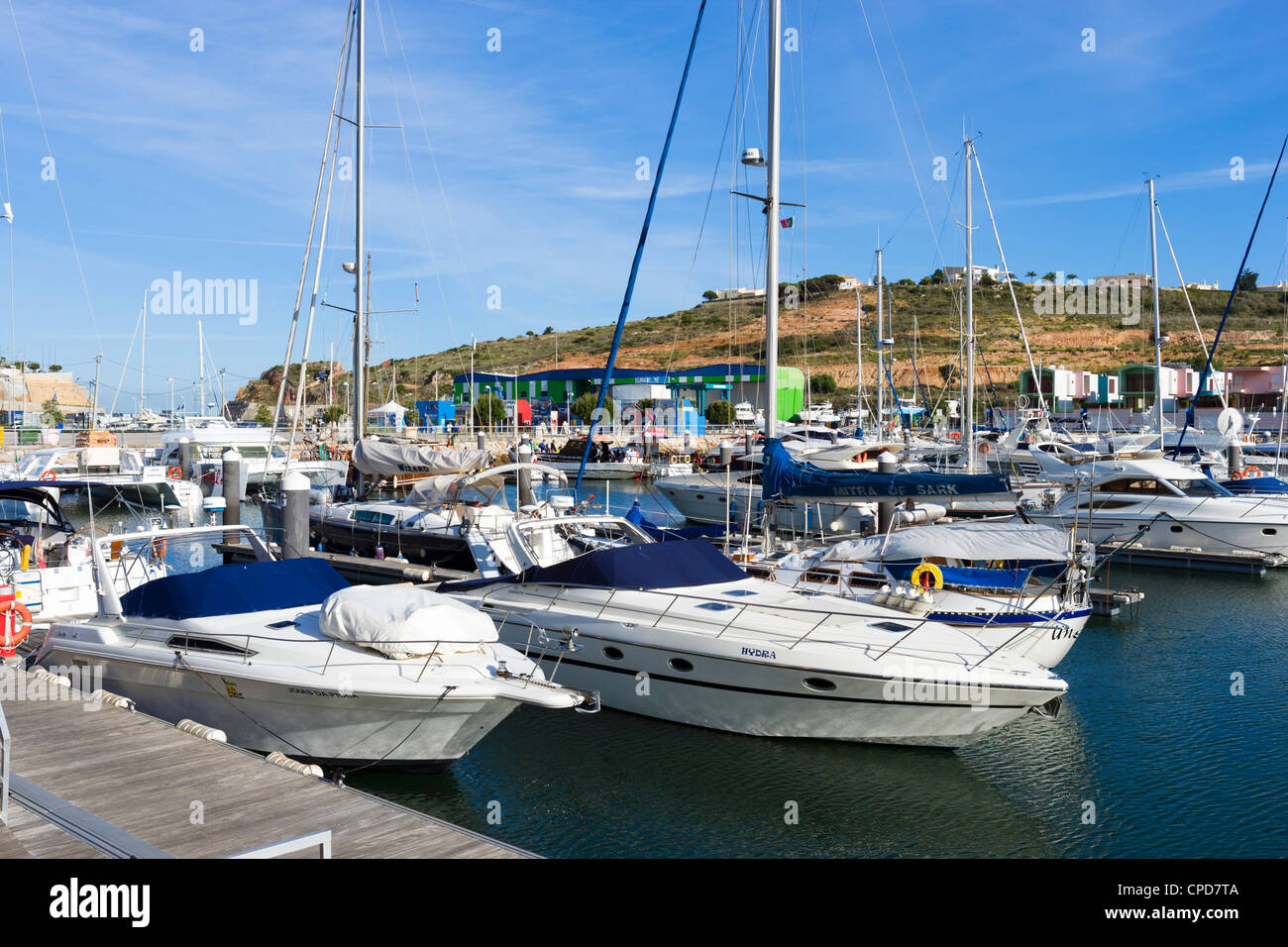 Boote in der Marina, Albufeira, Algarve, Portugal Stockbild