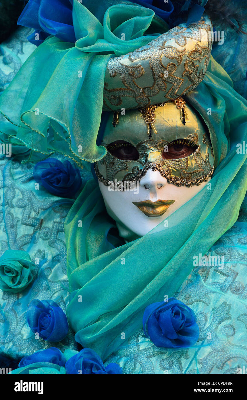 Maskierte Figur im Kostüm auf der 2012 Karneval, Venedig, Veneto, Italien, Europa Stockbild