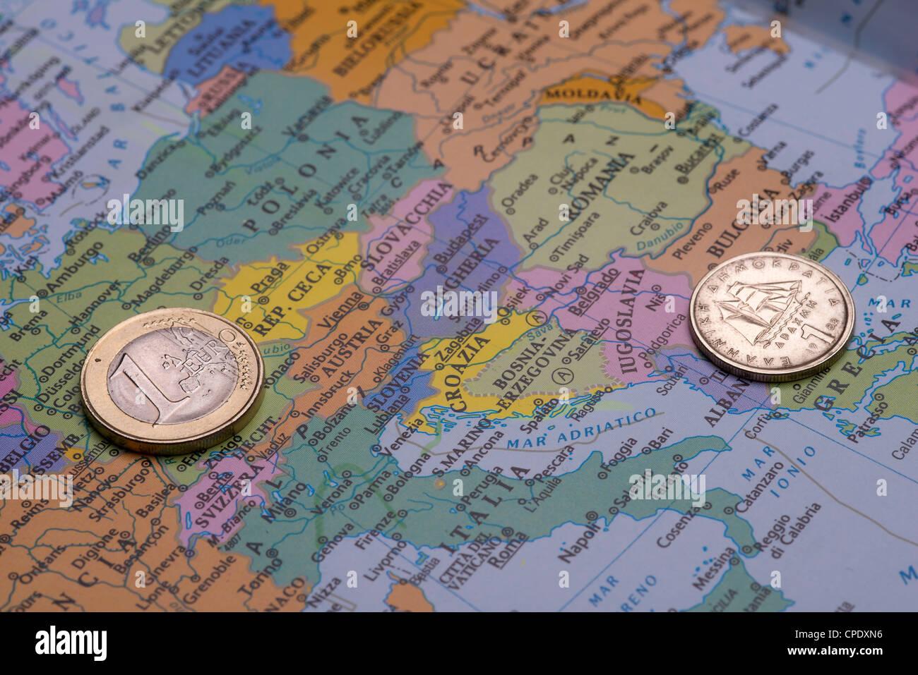 Wirtschaftskrise in Griechenland, die Zukunft des Euro. die Passage im Dracma Währung. Stockfoto