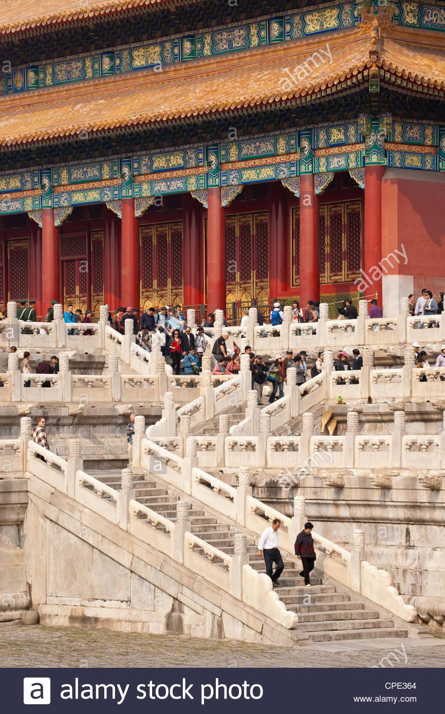 Tor der Himmlischen Reinheit, UNESCO-Weltkulturerbe, Verbotene Stadt, Peking, China, Asien Stockbild