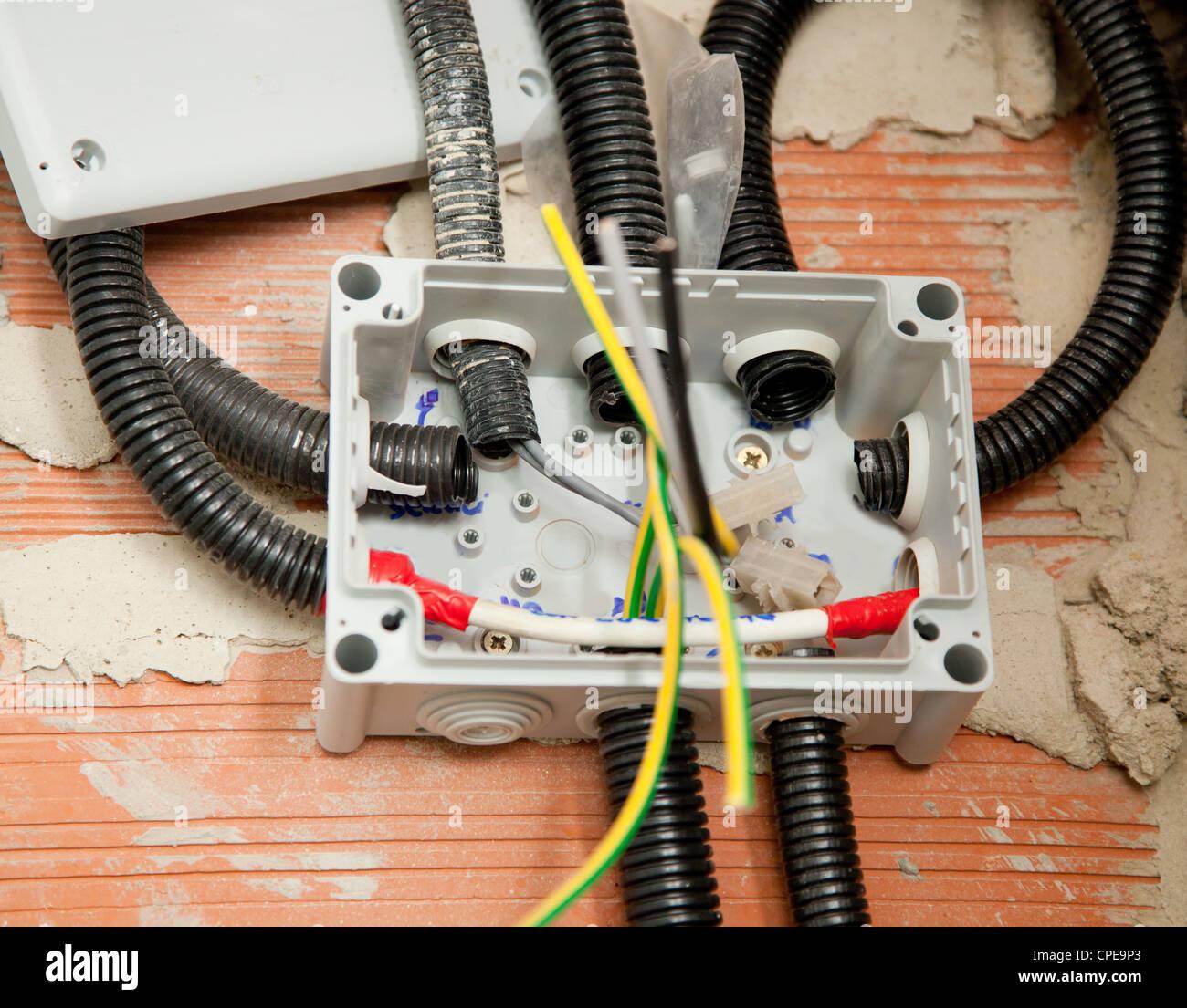elektrische Spule Conduit Pipe auf Box mit unordentlichen Kabel ...