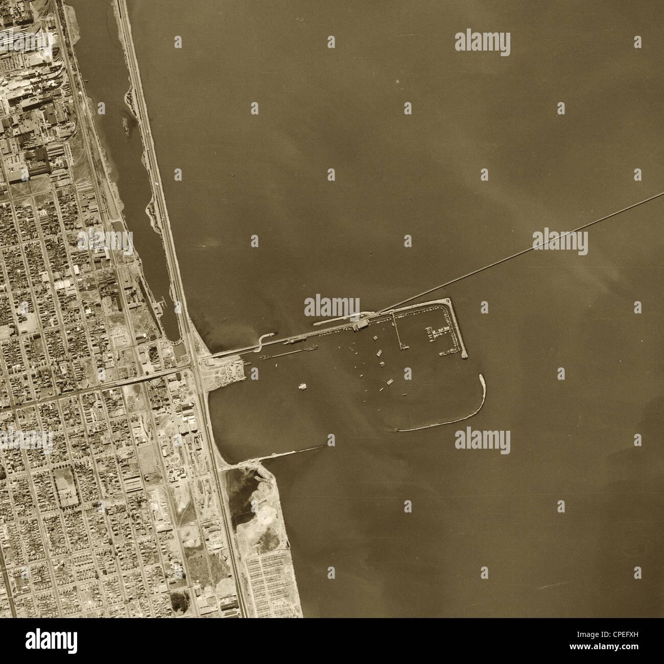 historische Luftaufnahme Berkeley Marina, 1946 Stockbild