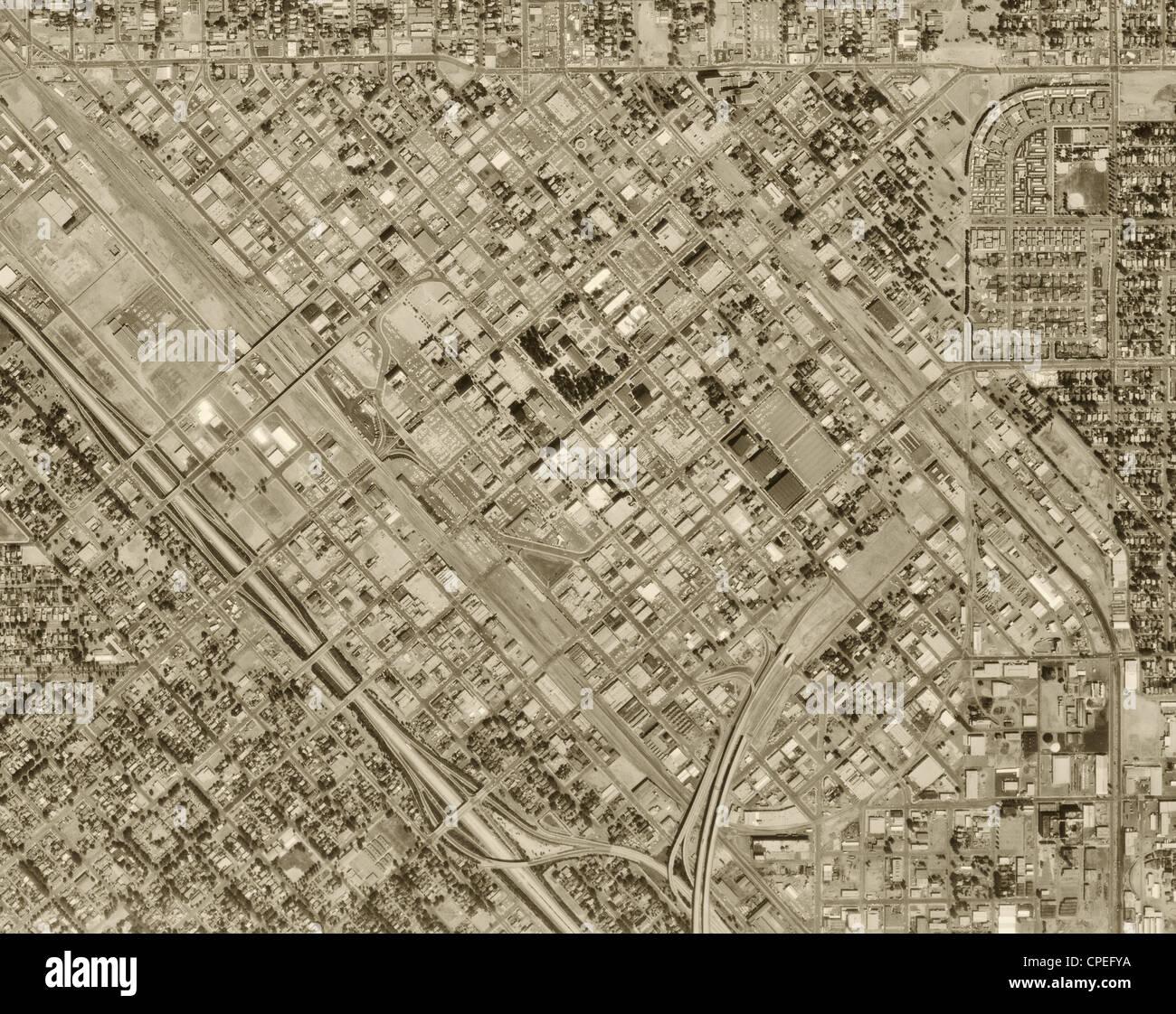 historische Luftaufnahme Fresno, 1972 Stockbild