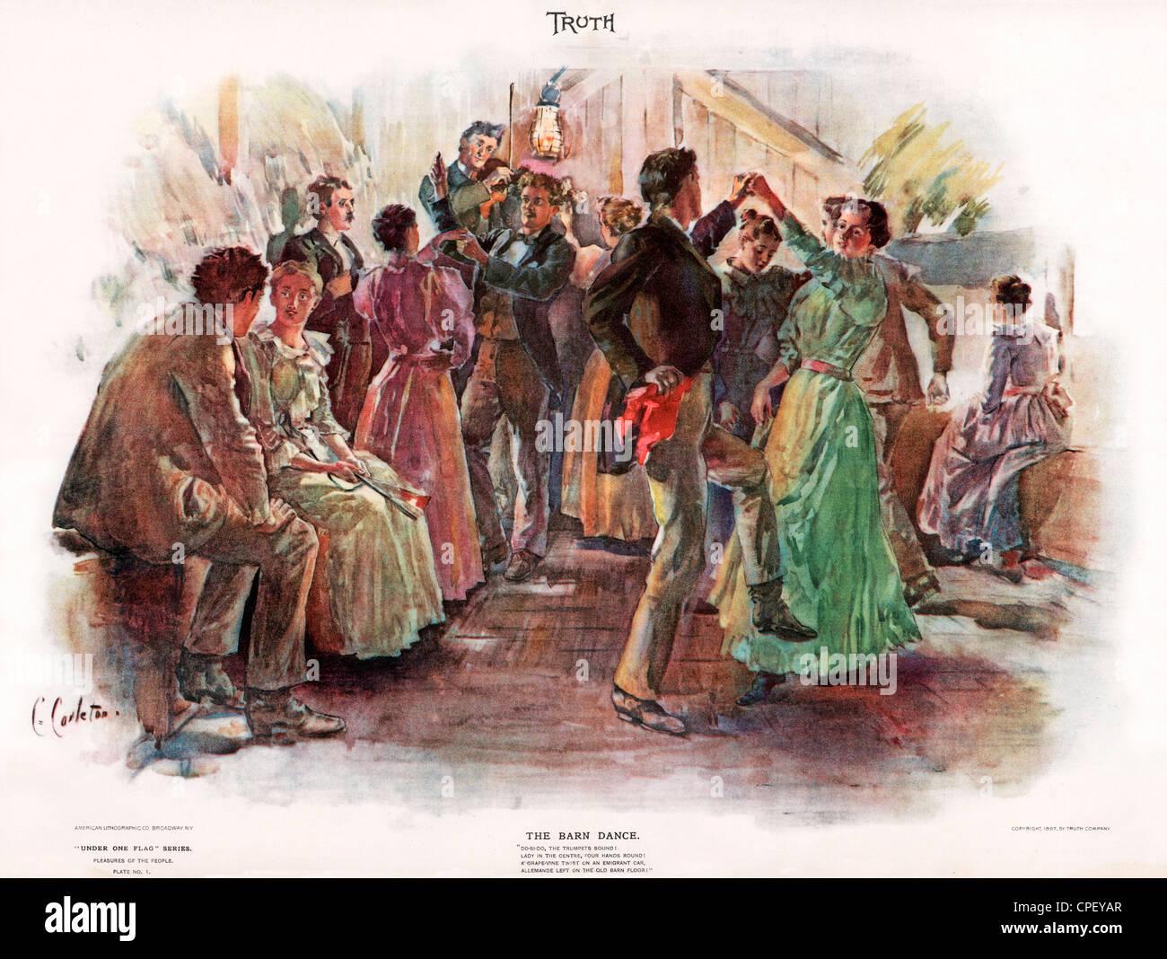 Die Barn Dance, 1897 amerikanische Wahrheit Magazine Illustration eines Landes Tanz, Teil der unter einer Flagge, Stockbild