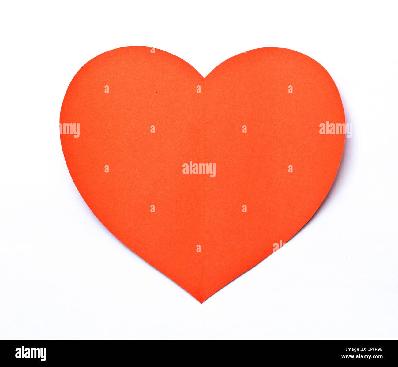 Red Heart-Papier-Shape-Symbol auf weiß Stockbild