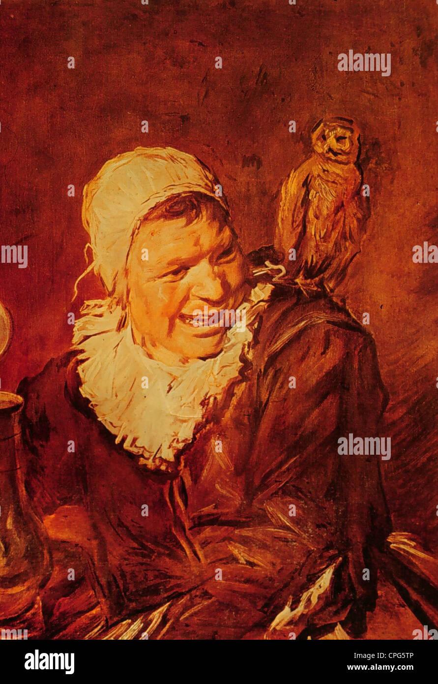 Hexen, Hexe, Gemälde von Frans Hals, 17. Jahrhundert, historische, historische, Eule auf der Schulter, Vogel, Stockbild