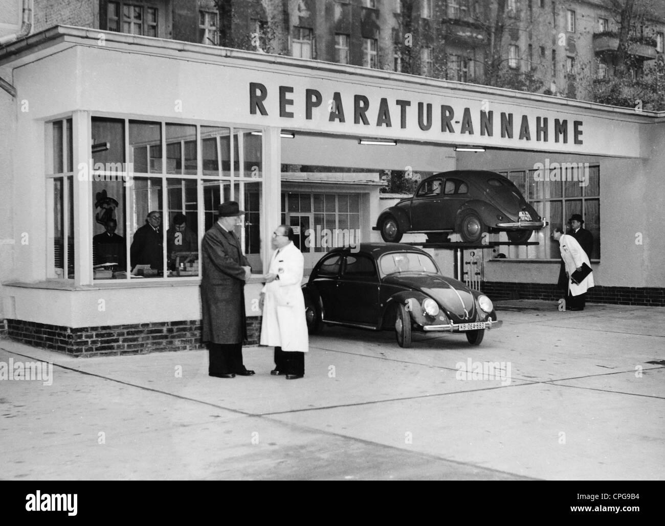 verkehr transport auto autowerkstatt empfangen abteilung von volkswagen brd 1950er jahre. Black Bedroom Furniture Sets. Home Design Ideas