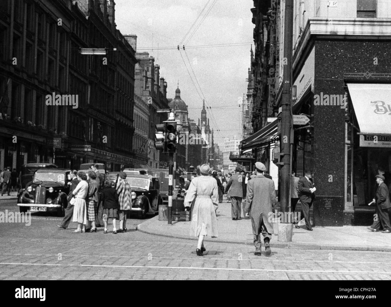 Geographie/Reisen, Großbritannien, Glasgow, Straßenszenen, Buchanan Street, ca. 1950 40s, 40s, 50s, 50s, Stockbild
