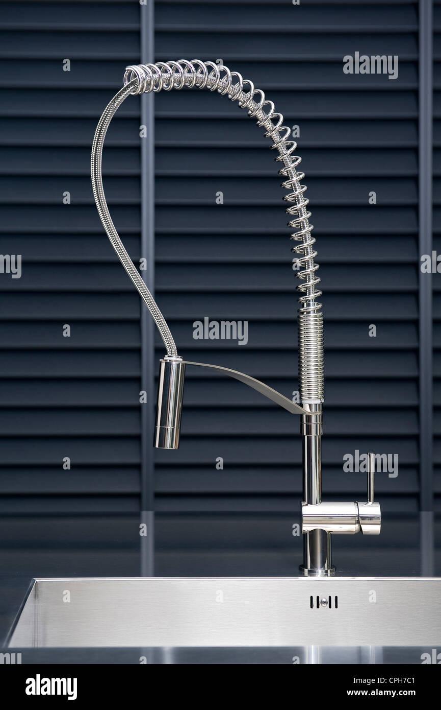 Wohnen, innen, Küche, Küche, Spüle, Wasserhahn, Design, Stahl, Inox ...