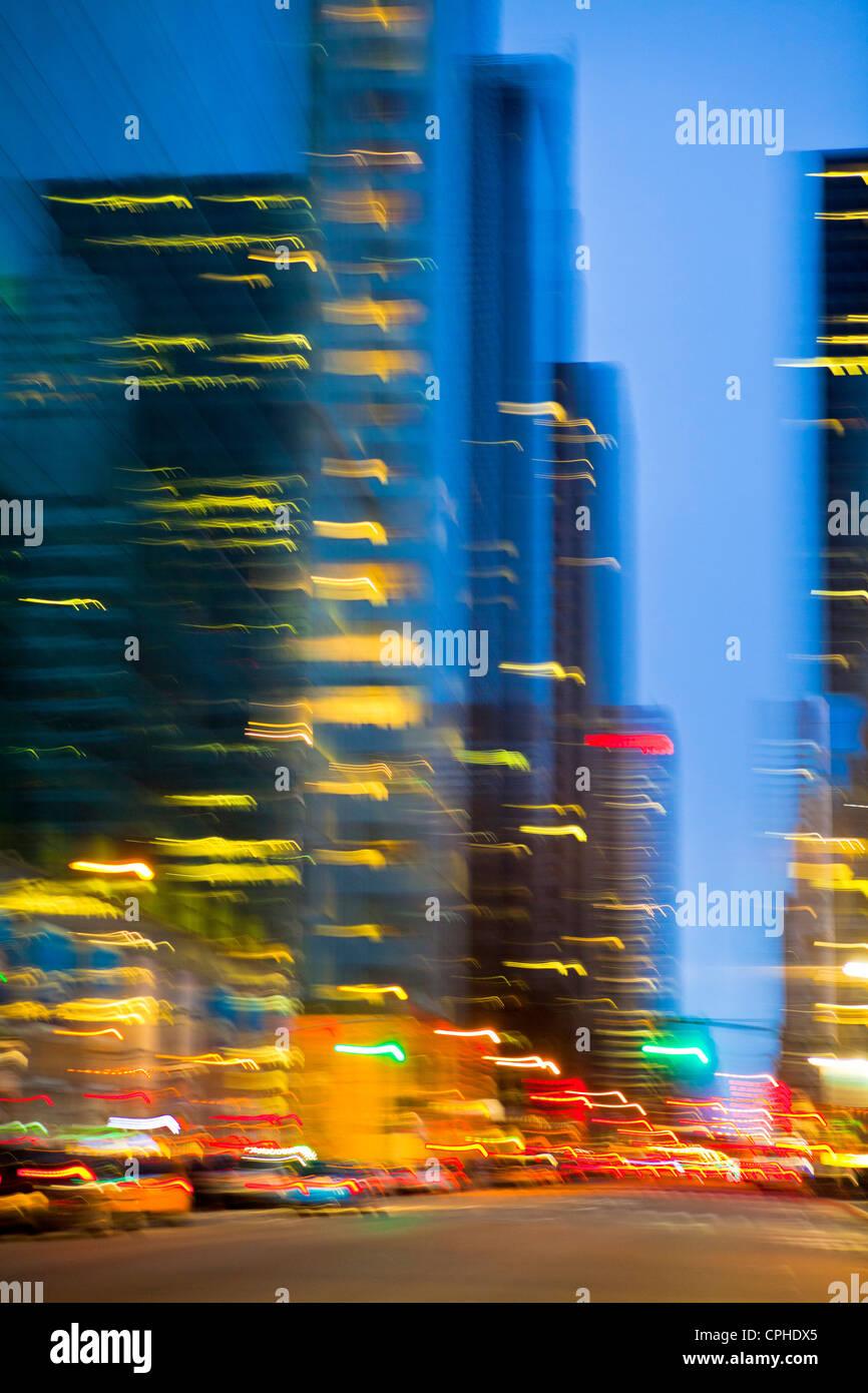 USA, USA, Amerika, New York, Manhattan, 42 Street, City, Konzept, Bild, Lichter, verschwommen, Nacht, Stockbild