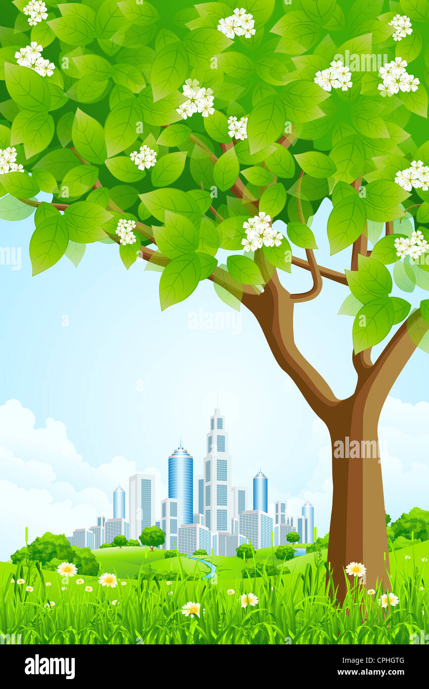 Grüner Hintergrund mit Bäume Blumen Hügeln und Stadt Stockbild