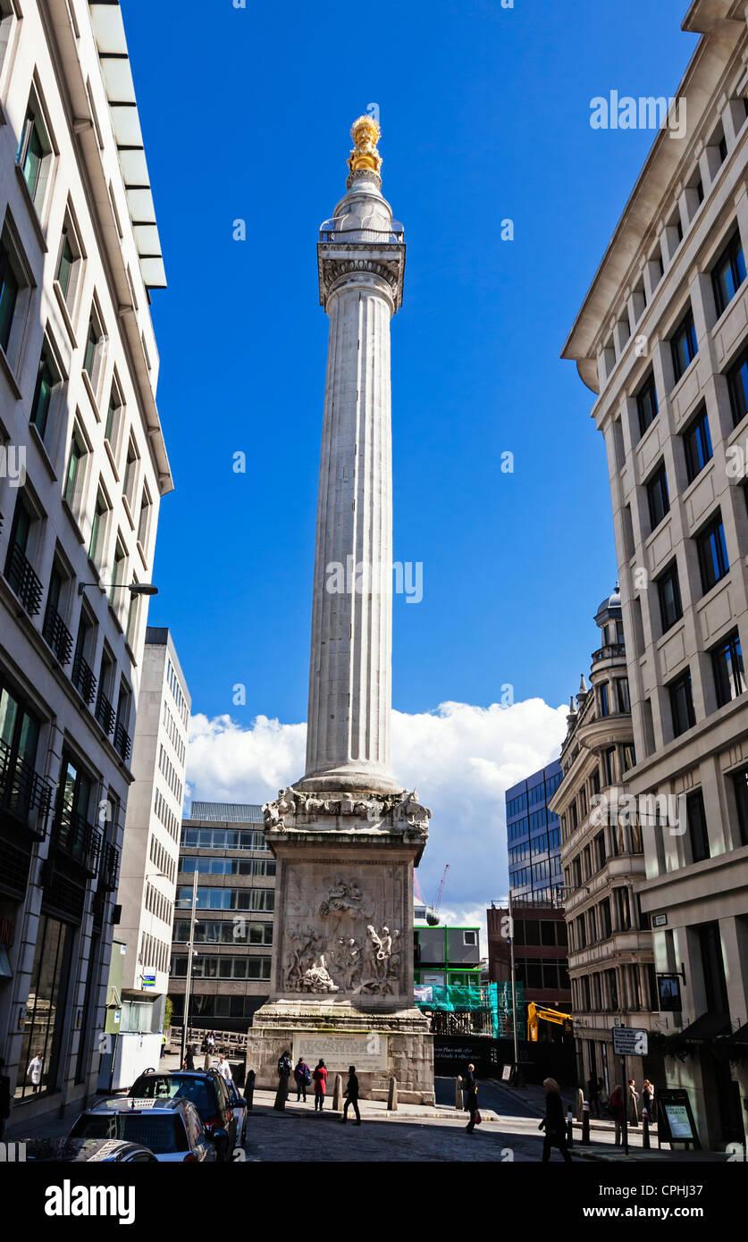 Das Denkmal für den großen Brand von London designed by Christopher Wren und Robert Hooke, London, England. Stockbild