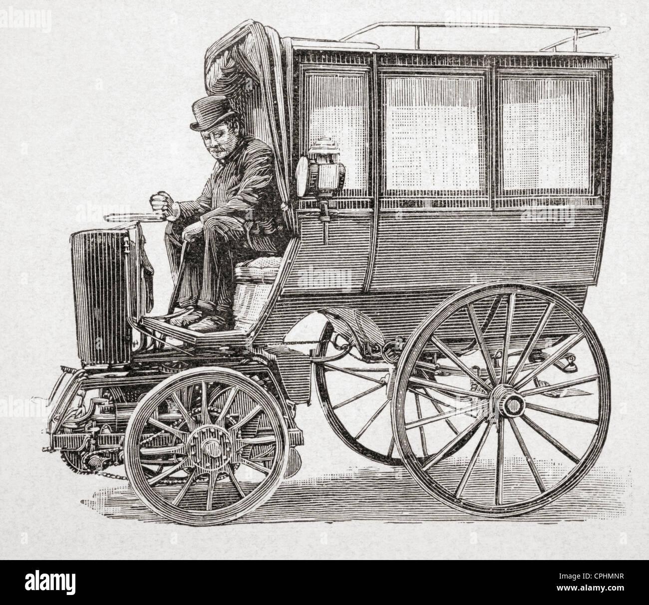Ein 19. Jahrhundert Benzin angetrieben Motorkutsche von Victor Etienne Prétot entworfen. Von l ' Illustration Stockbild