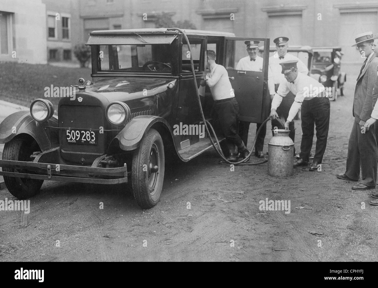 Alkoholschmuggel während der Prohibition in den USA Stockbild