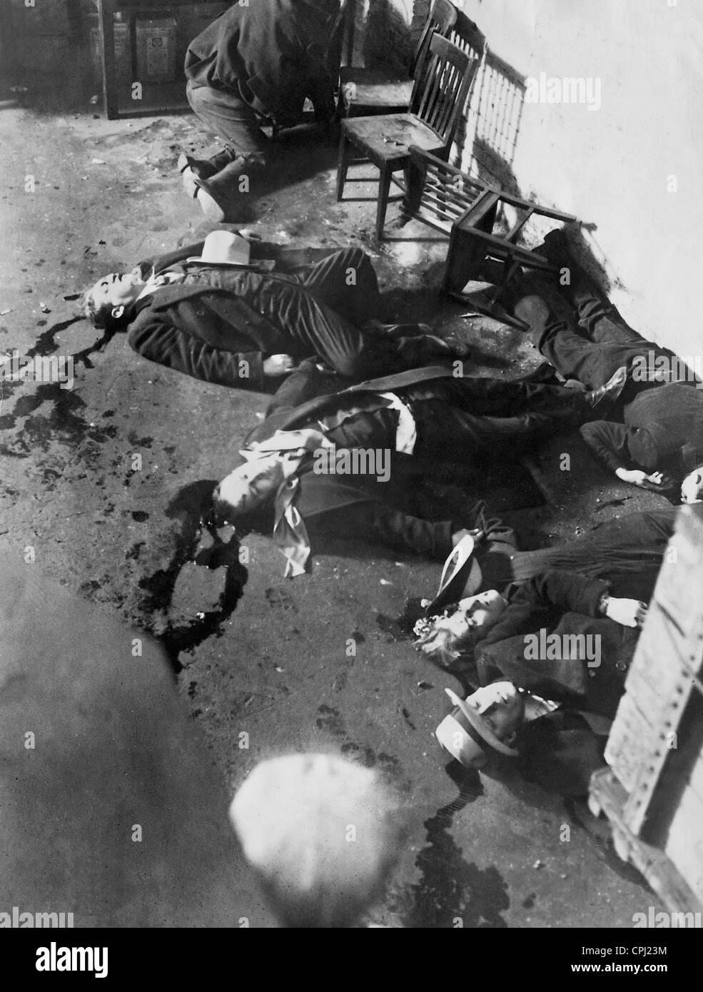 Leichen von den Valentinstag-Massaker in Chicago, 1929 Stockfoto ...