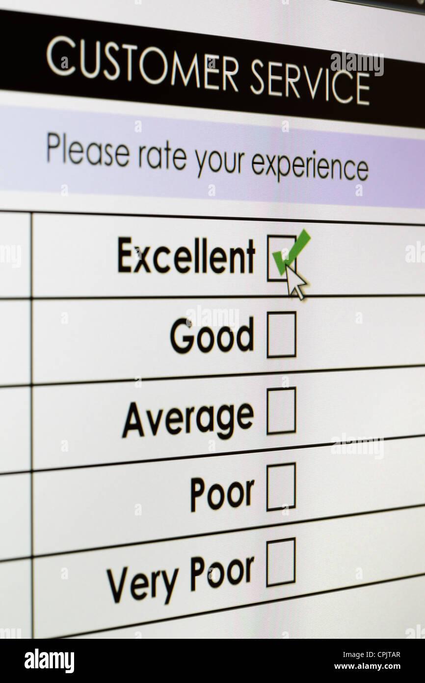 Online-Serviceumfrage zur Kundenzufriedenheit Stockbild