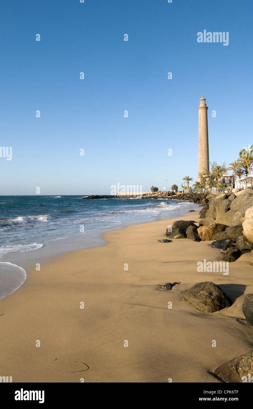 El Faro Leuchtturm Maspalomas Gran Canaria Kanaren Inseln Strand Strände Stockbild
