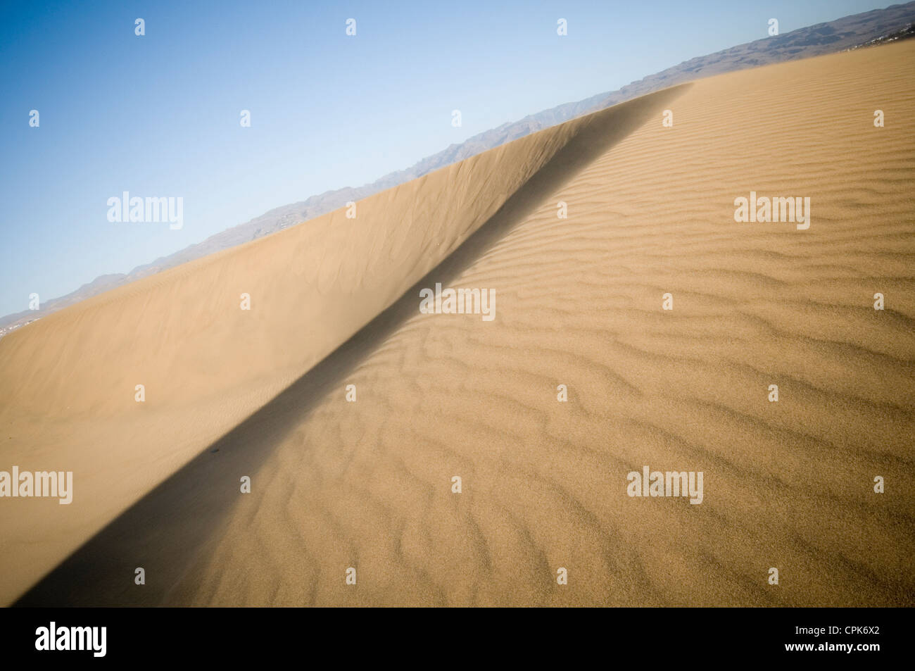 Maspalomas Gran Canaria Düne Dünen Wind geblasen trockenen Wüste Wüsten Orte der Strand Strände Playa Del Ingles Stockfoto