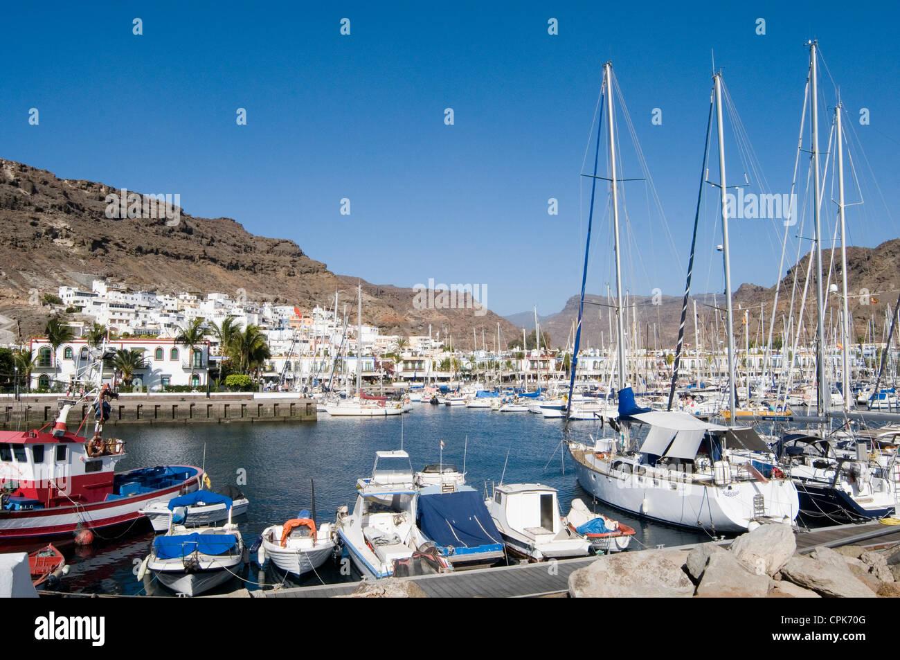 Puerto de Mogan Gran Canaria Kanaren Marina Hafen Hafen Boote Boot Stockbild
