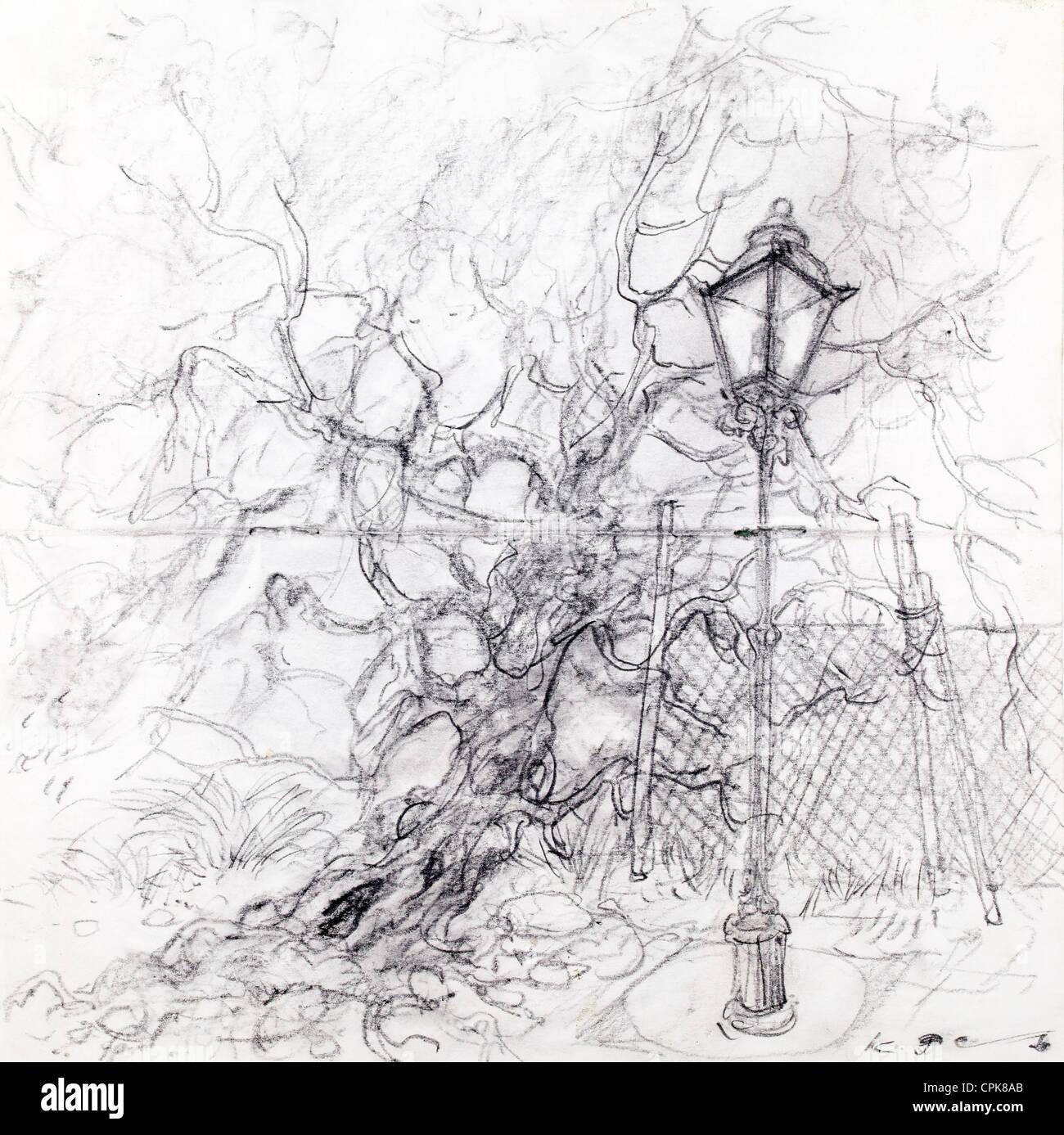 Laternenpfahl und Baum - Kohle auf Papier von Kurt Tessmann Stockbild