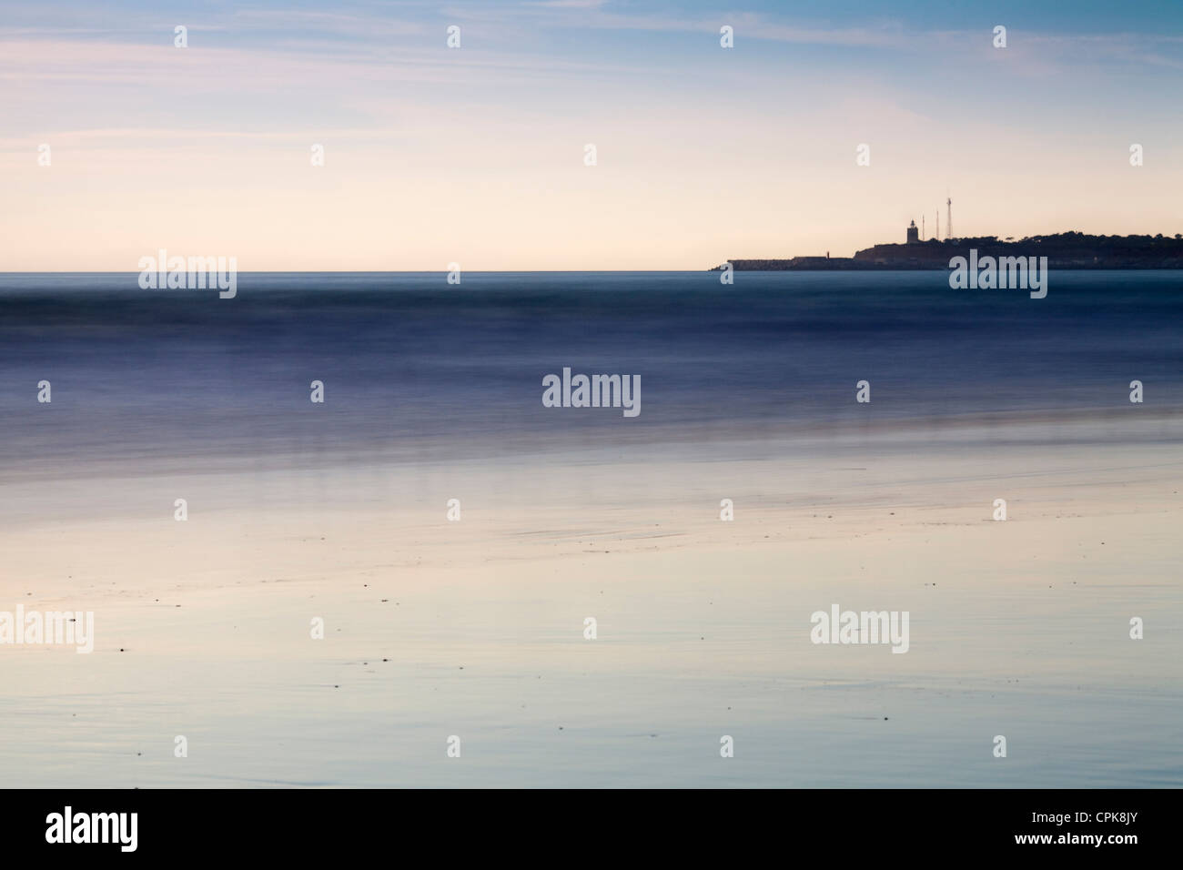 Ätherisch Abend am Strand. Langzeitbelichtung geschossen. Stockbild