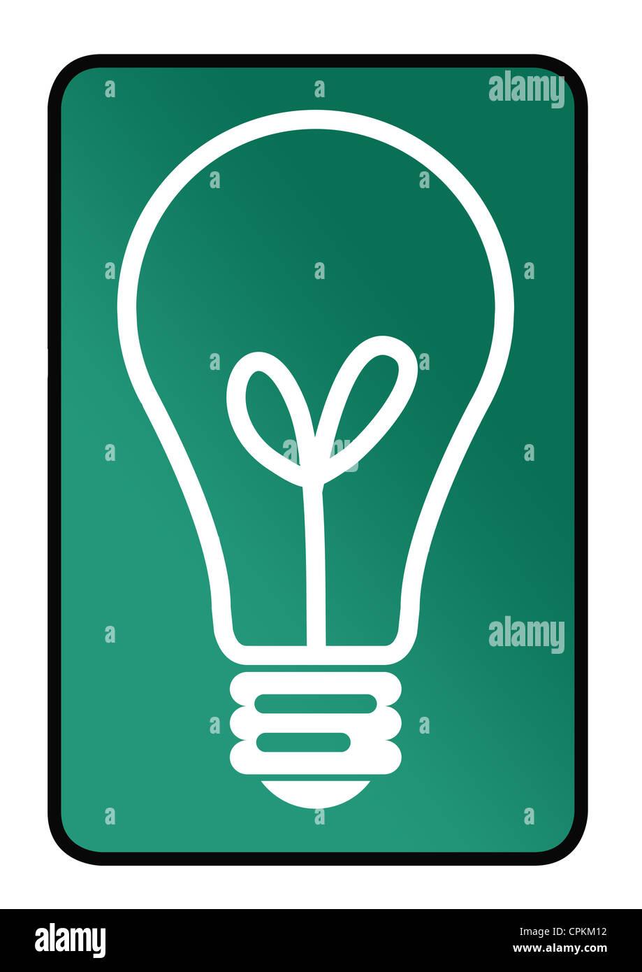 Ideen-Konzept-Schild mit Glühbirne isoliert auf weißem Hintergrund. Stockbild