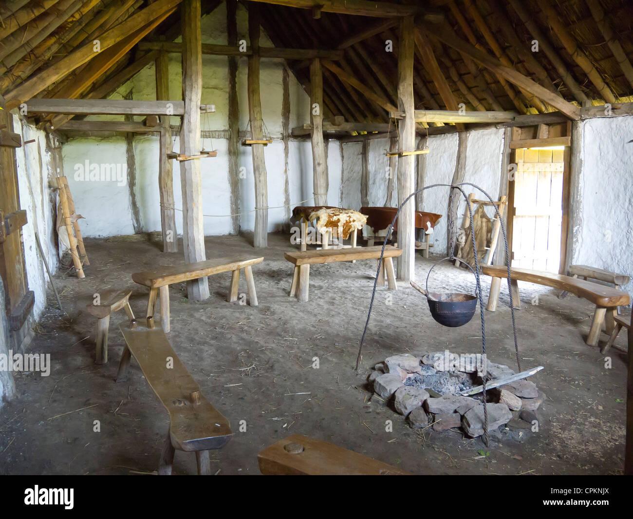 Ein mittelalterlicher Bauernhof Haus Interieur in The Museum der ...