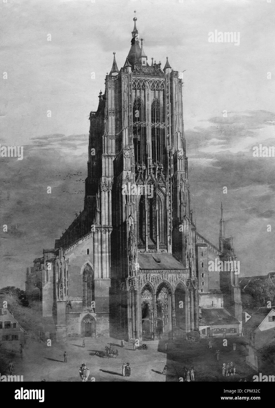 Münster in Ulm, um 1800 Stockfoto