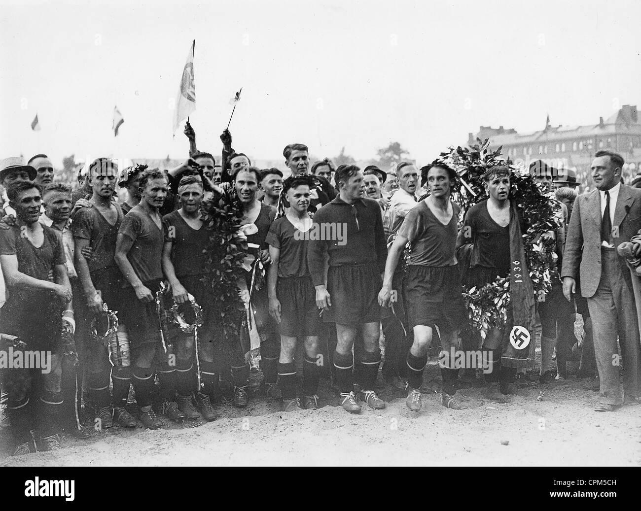 Der 1. FC Nürnberg gewann die Deutsche Fußballmeisterschaft 1936 Stockbild