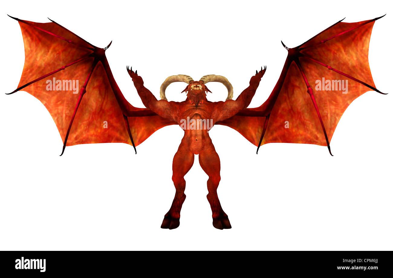 Abbildung eines roten Dämonen isoliert auf weißem Hintergrund Stockbild